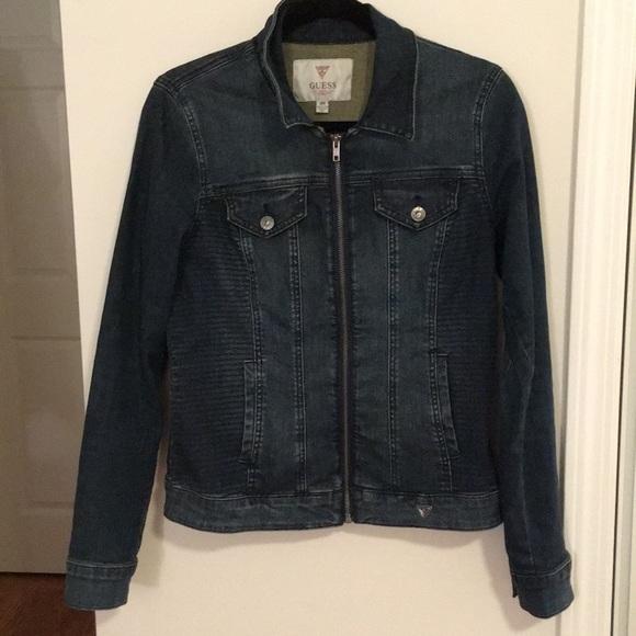 Guess Zipper Dark Denim Jacket MEDIUM